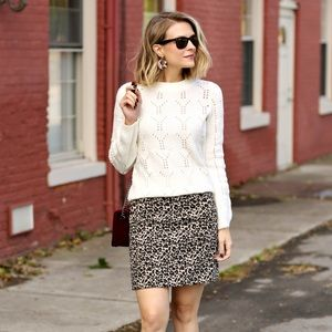 Loft Leopard Print Shift Skirt